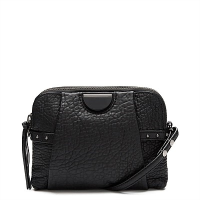 THE BAGS MI LOVES BLACK LOCO MOTIVE REAL LEATHER HIP BAG