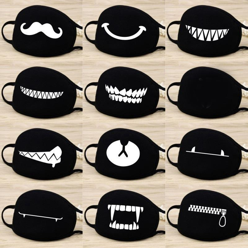 42 Styles Cotton Funny Washable Mouth Mask Dustproof Face Mouth Mask Cartoon Face Reusable Fabric Bear Fashion Smile Party Mask