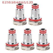 5 pçs/caixa bobinas de substituição cabeça de bobina de metal 0.17/0.3/0.4/0.6/1/1.2Ω para rpm 80 rpm mtl malha/malha/triplo/sc/atomizador de tanque de quartzo