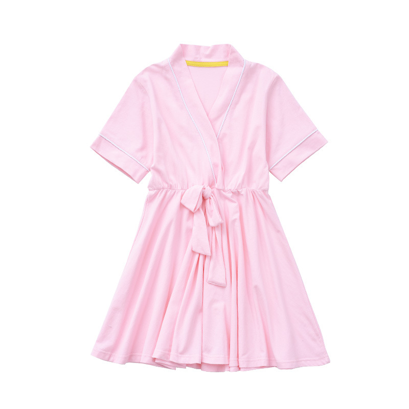 Home CHILDREN'S Lingerie Pure Cotton Girls Baby Summer Thin Women's Robes Little Girl Short Sleeve Tracksuit Large Childrenswear