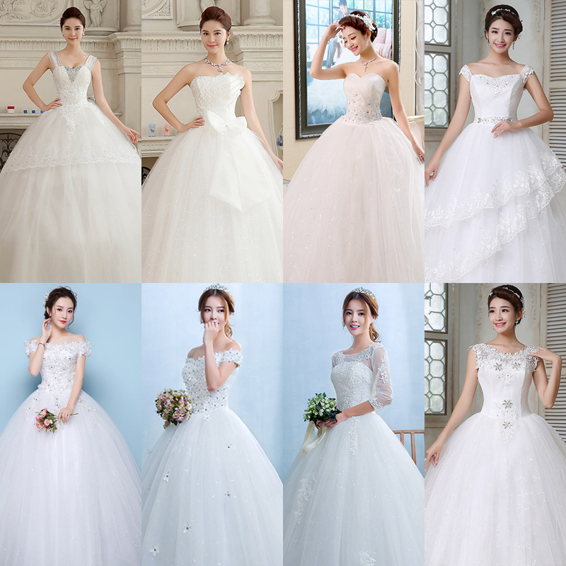 In Stock Wedding Dress Elegant  Crystal Princess Bridal Ball Gown Strapless Long Wedding Dresses HS101 More Styles Clearance