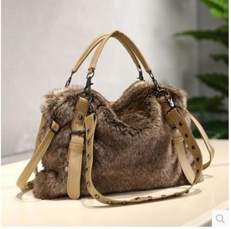 New Handbags Designer Faux Rabbit Fur Brand Female Messenger Bag Fashion Casual Women Shoulder Tote Bags Plush