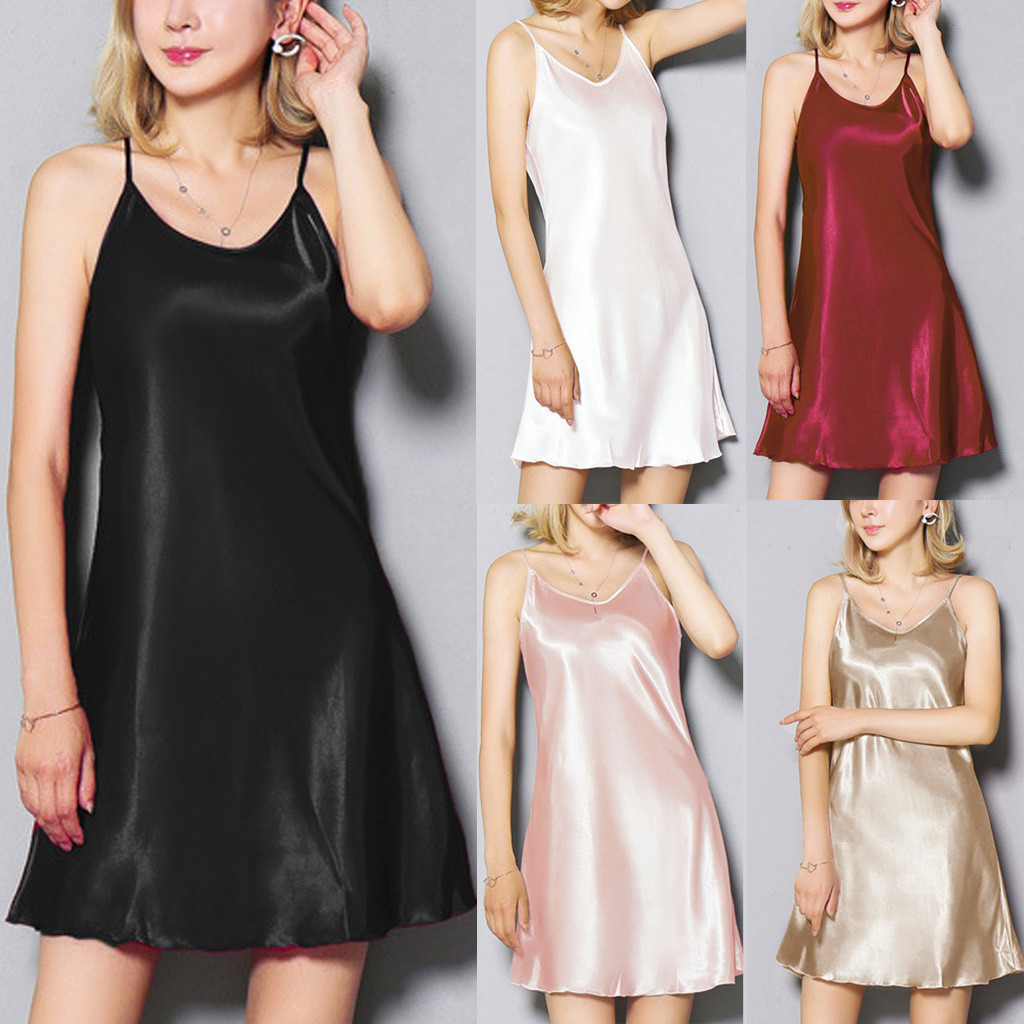 women's night dress Womens <font><b>Lingerie</b></font> silk Nightwear Underwear <font><b>Plus</b></font> <font><b>Size</b></font> <font><b>Sexy</b></font> Satin Hem Sling <font><b>camisola</b></font> gecelik image