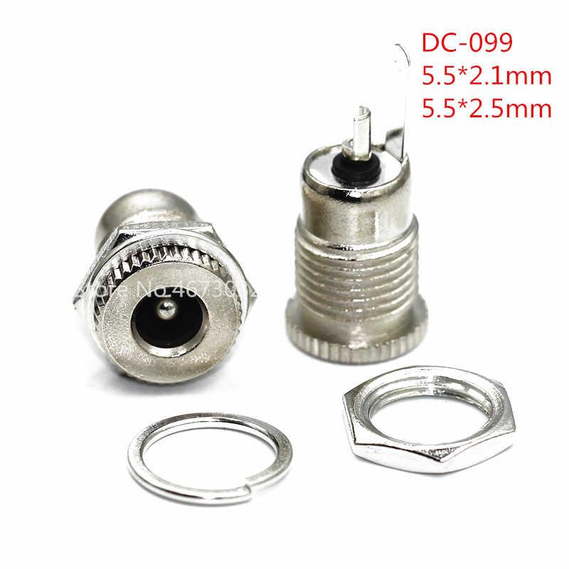 10 adet DC099 5.5mm x 2.1mm DC güç jak soketi dişi Panel montaj konnektörü Metal DC-099 açık delik 11MM 5.5*2.1 5.5*2.5