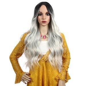 Image 2 - Женские длинные волнистые парики Toutbeau, серебристо серый парик из синтетических волос для косплея, Хэллоуина
