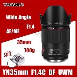 Объектив для камеры YONGNUO YN35mm F1.4C DF UWM AF MF 35 мм F1.4 DF UWM, ультразвуковой волновой двигатель, широкоугольный объектив для Canon 6D 5D 70D