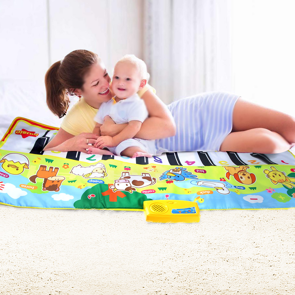 135X58CM Large Size Musical Mat Baby Animal Theme Educational Learning Toy Children Baby Toy Infantil Playing Type Music Mat(China)