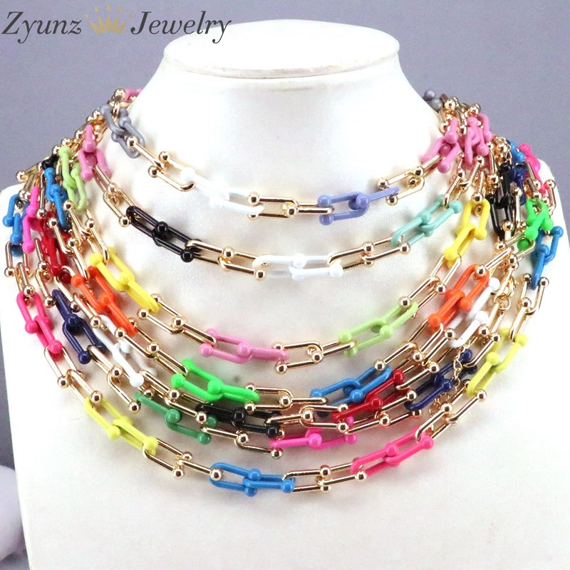5Pcs Fashion Enamel Oval Spiral Buckle Necklace Punk Chain Gold Color Jewellery Boho
