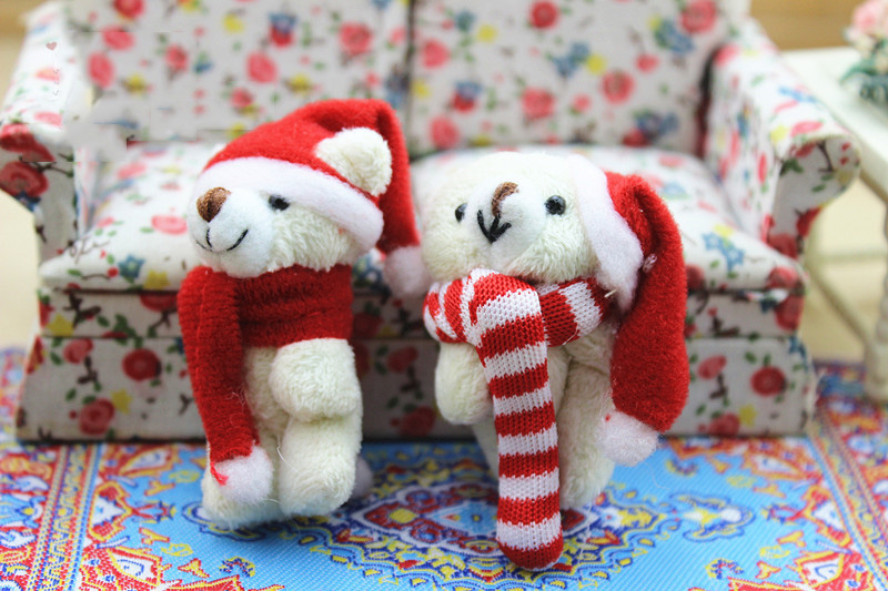 1:12 Dollhouse Miniature Mini Bear Dolls Christmas Toy Match For Forest Animal Family Collectible Gift
