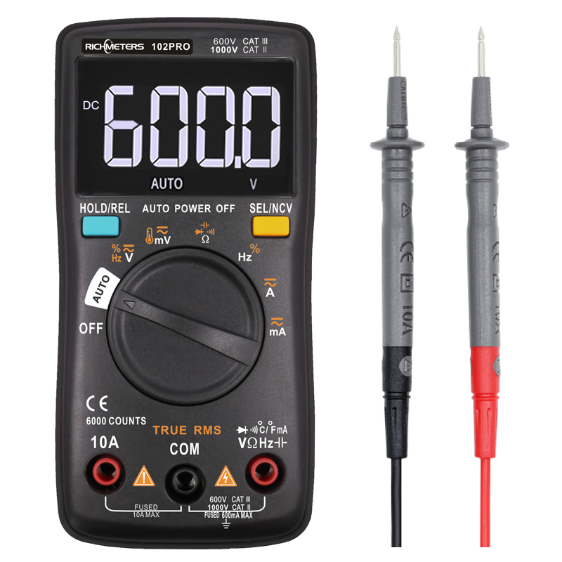 RM102Pro Digital Multimeter 6000 Counts Auto 113D Back Light AC/DC Voltmeter Transistor Tester Frequency Diode Temperature