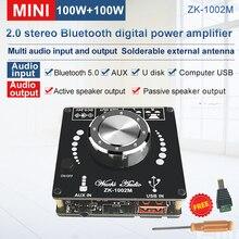 ZK 1002M 100W + 100W Bluetooth 5.0 כוח אודיו מגבר סטריאו לוח מגבר Amplificador בית תיאטרון AUX USB