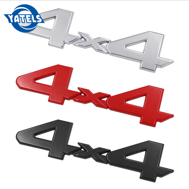 Red 4X4 3D Emblem Metal Sticker Badge For Truck SUV Pickup Rear Tailgate Trunk