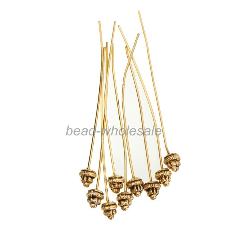 20pcs Classical Style Antiqued Silver/Gold Flower Long Head Pins For Jewelry Making 55x5mm