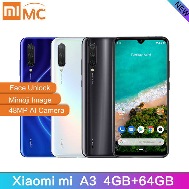 "Global Version Xiaomi Mi A3 4GB 64GB Smartphone 6.088"" AMOLED Snapdragon 665 Octa Core In screen Fingerprint 4030mAh Cellphone"