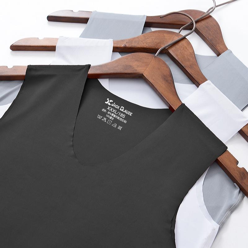 No trace Summer Cool Men Vest Cotton Tank Tops Underwear Mens Undershirt Transparent Shirts Male Bodyshaper Fitness sleeveless