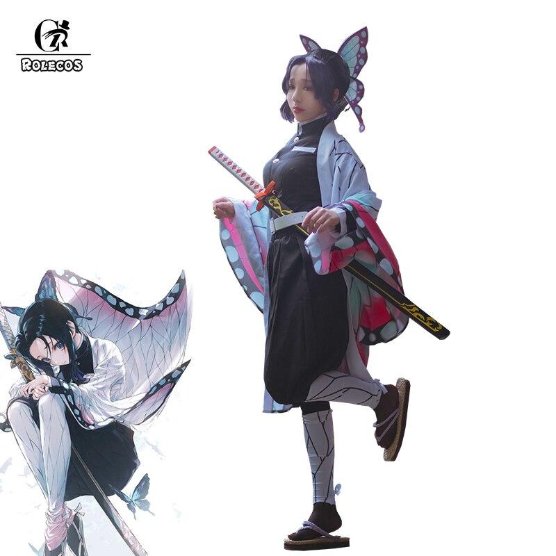 ROLECOS Anime Demon Slayer Cosplay Costume Kochou Shinobu Kimetsu No Yaiba Cosplay Costume Halloween Women Kimono Uniform Cloak