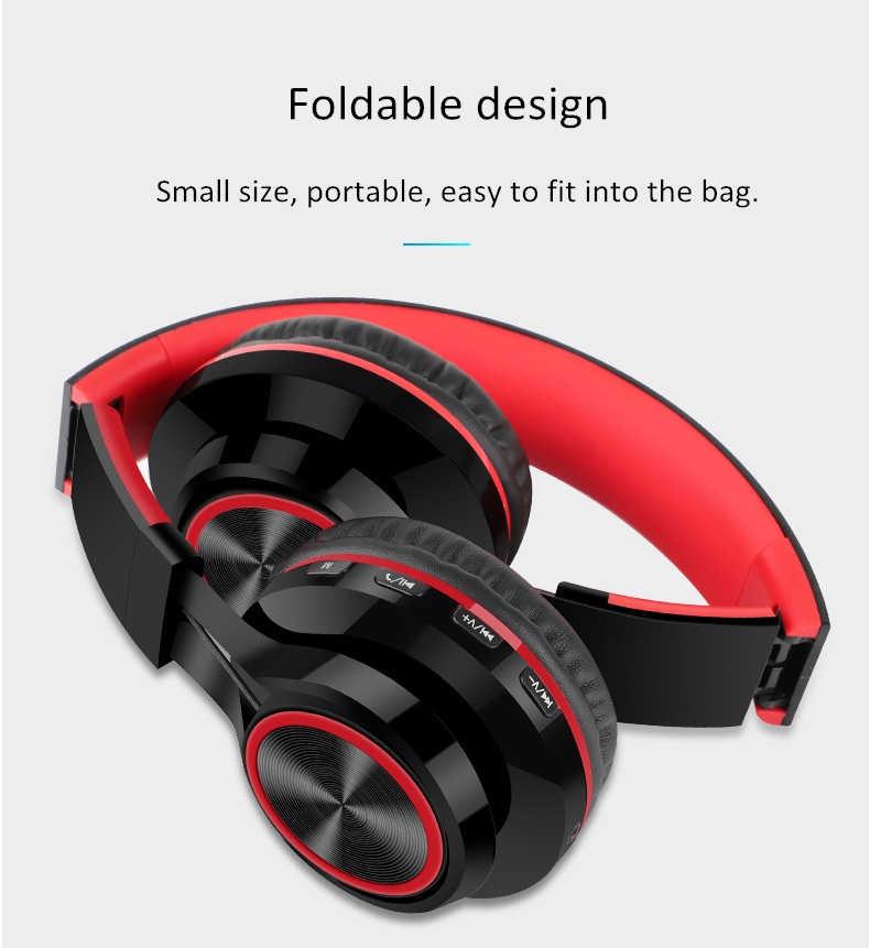 Składany bezprzewodowe słuchawki z bluetooth Radio FM SD/TF karty NFC MP3 odtwarzacz Stereo ciężki bas zestaw słuchawkowy z mikrofonem