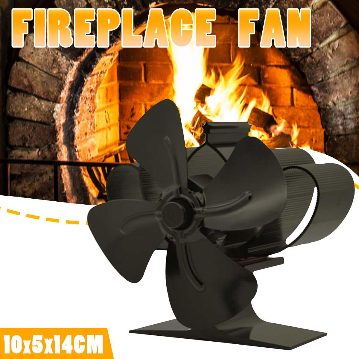 Heat Energy Stove Fan 4 Blade Fireplace Fan Eco-friendly Heat Powered Wood Burner  Fan Quiet Home Efficient Heat Distribution
