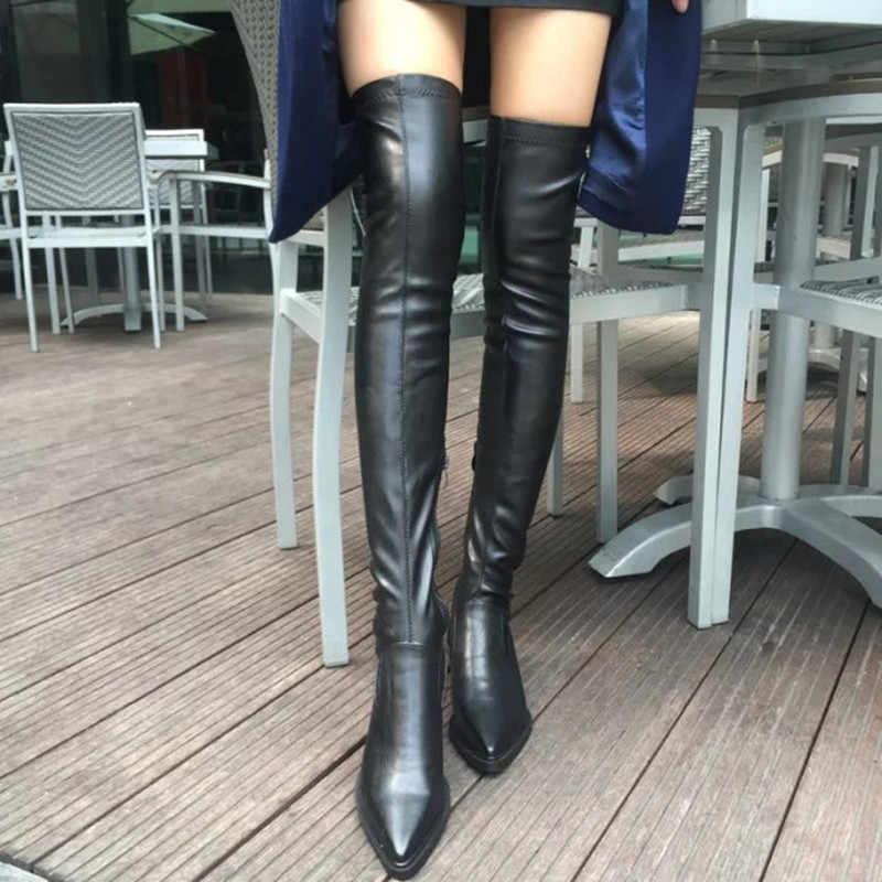 LZJ 2019 ใหม่รองเท้าผู้หญิงรองเท้าสีดำเหนือเข่ารองเท้าบูทเซ็กซี่หญิงฤดูใบไม้ร่วงฤดูหนาว Lady ต้นขาสูงรองเท้า PLUS ขนาด 35-40
