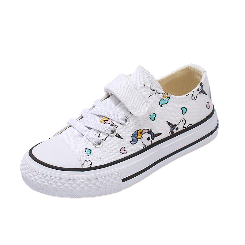 2019 Fashion Kids Unicorn Canvas Sneakers Rainbow Vulcanized Shoes Hook & Loop Big Boys Shoes Girls Flat Footwear Sport Trainers