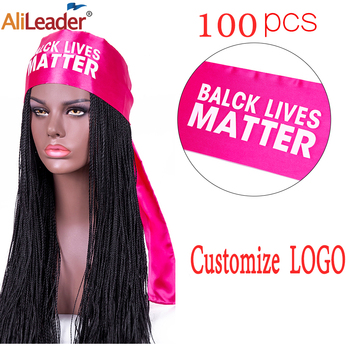 Alileader 100Pcs Satin Scarf For Edges For Wigs Custom Logo Satin Edge Scarves For Wigs Black White Pink Wig Grip Headband 140Cm