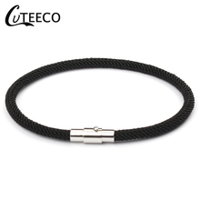 CUTEECO Adjustable Leather Charms Female Bracelet For Men & Women Wrap Jewelry Magnet buckle Anchor bracelet