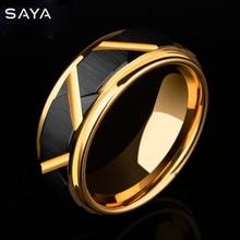 6/8mm Width Tungsten Carbide Wedding Ring Black Faceted Design Men Band Gold Plating Inside Comfort Fit 5 11.5 New Arrival