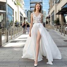 Verngo 2019 Romantic A-line Wedding Dress Appliques Chiffon Gowns Backless Bride Beach Gelinlik