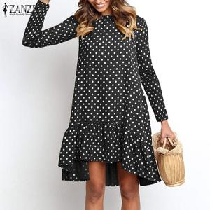 ZANZEA Fashion Spring Printed Ruffle Dress Women's Palka Dots Sundress Casual Knee Length Vestidos Female O Neck Robe Plus Size