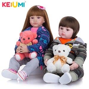 KEIUMI 24 Inch Cloth Body Reborn Baby Dolls Soft Silicone Sister Reborn Bebe Dolls Toy DIY Playmate For Kids Birthday Gift(China)