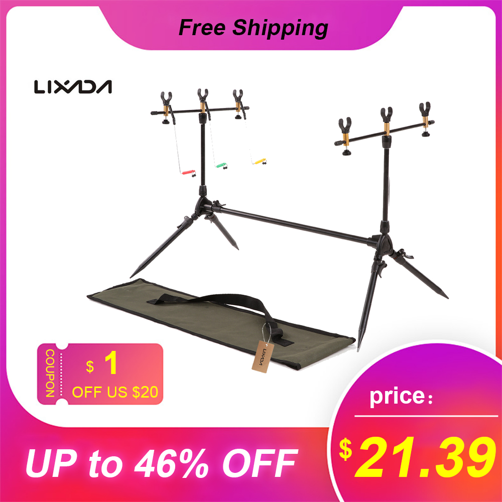 Lixada Outdoor Foldable Adjustable Fishing Rods Stand Holder Carp Fishing Pole Pod Fishing Tackle Accessory Bracket For Pesca
