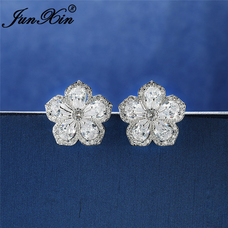 Cute Big Cherry Flower Stud Earring White Gold Rose Gold White Crystal Zircon Wedding Earrings For Women Unique Ear Jewelry Gift