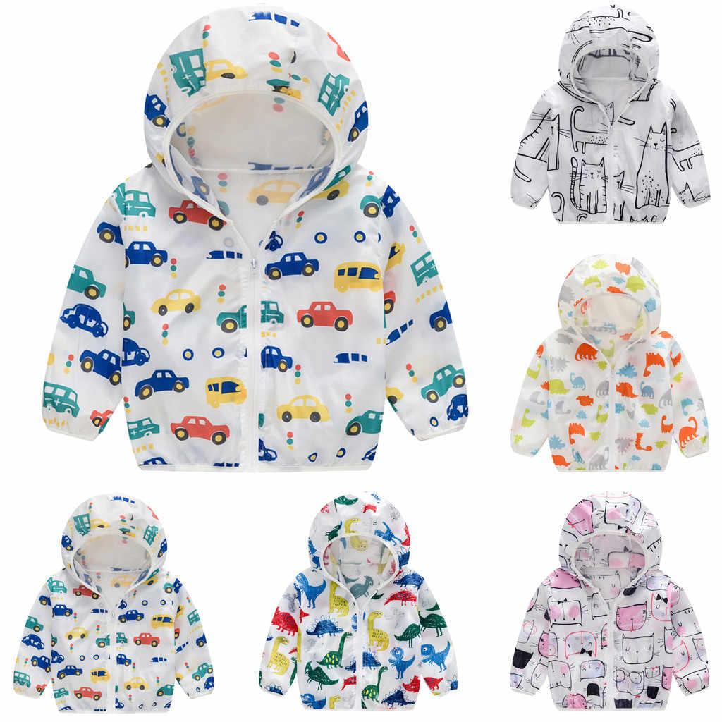 Baru Bayi Perempuan Mantel Tabir Surya Jaket Printing Hooded Pakaian Luar Ritsleting Mantel Musim Panas Anak-anak Pakaian # BL2