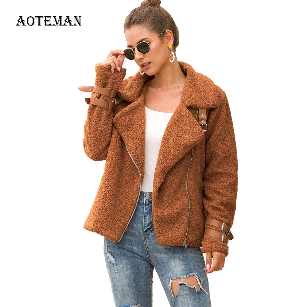 Autumn Winter Coat Women 2019 Casual Slim Solid Short Teddy Coat Female Vintage Zipper Turn-down Collar Plus Size Faux Fur Coats