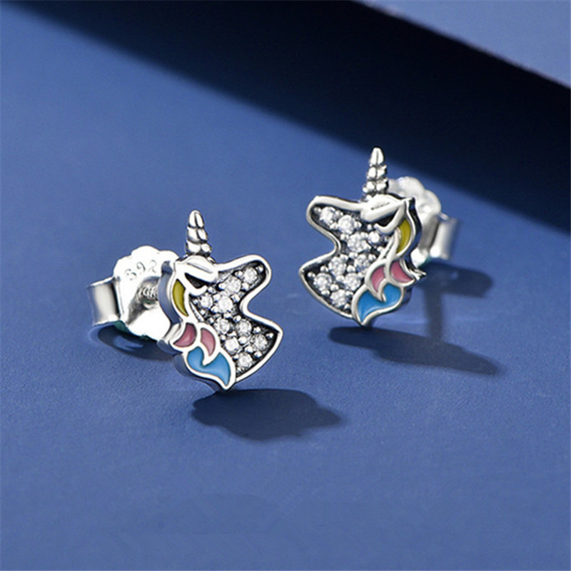 925 Sterling Silver Dazzling Unicorn Licorne Stud Earrings For Women Kids Wedding Party Sterling Silver Jewelry Eh1399