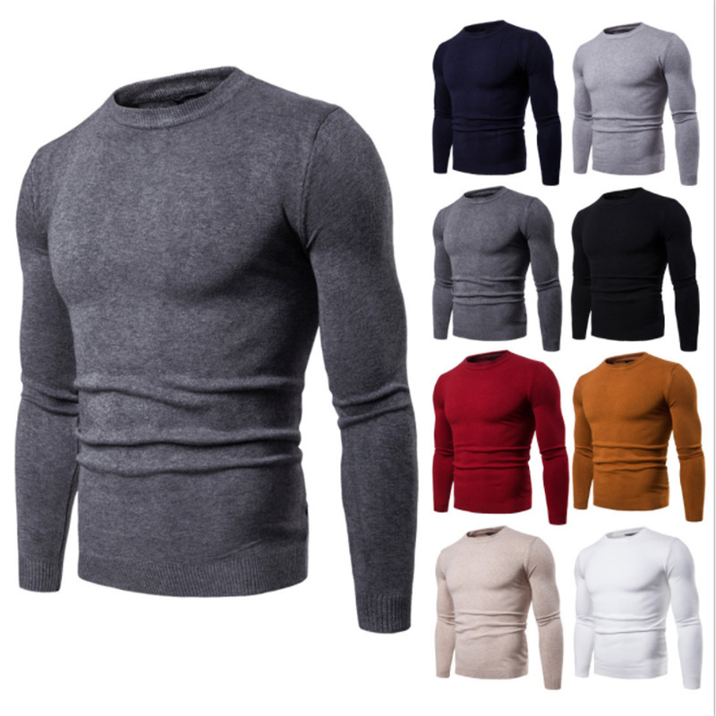 Mens Casual Slim Fit Pullover Sweaters Knitted Long Sleeve Basic Designed in Pullovers from Men 39 s Clothing
