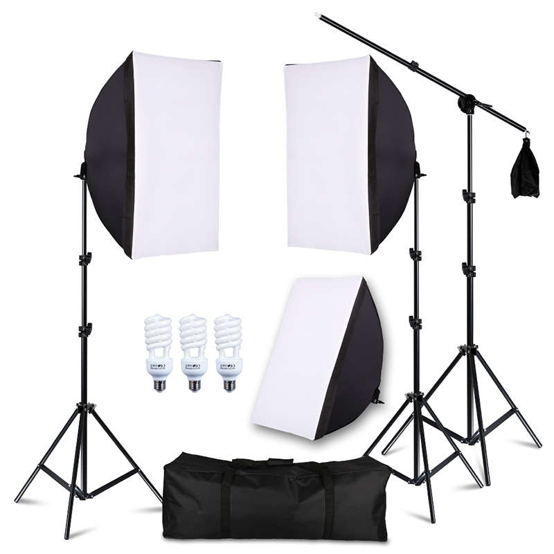 45W Photography Studio Lighting Kit with Arm Holder Photo Video Continuous Soft Box Lighting Set for YouTube Portrait Shooting 1