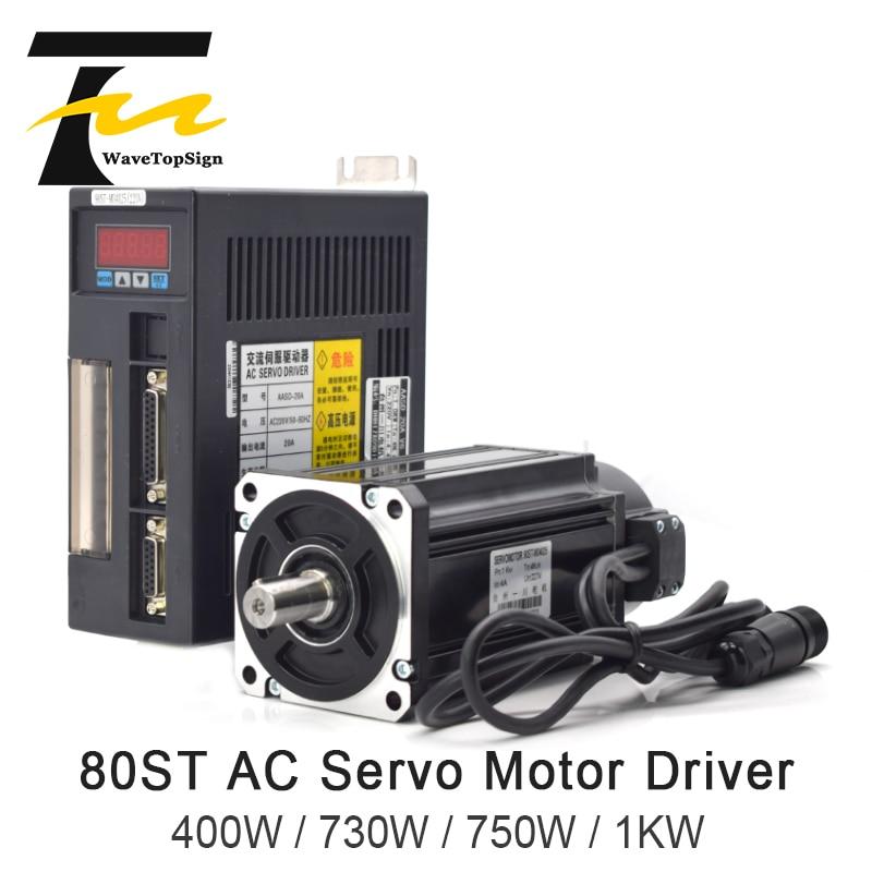 AC Servo Motor Driver 80ST Series 400W 730W 750W 1KW 1.27N.M 2.39N.M AC Motor Matched Servo Driver AASD 10A Complete Motor kit