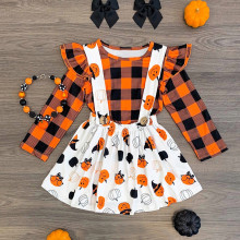Halloween Baby Clothes Sets Kids Dress Long Sleeve Toddler Girls Pumpkin Plaid Tops Overall Skirt Set