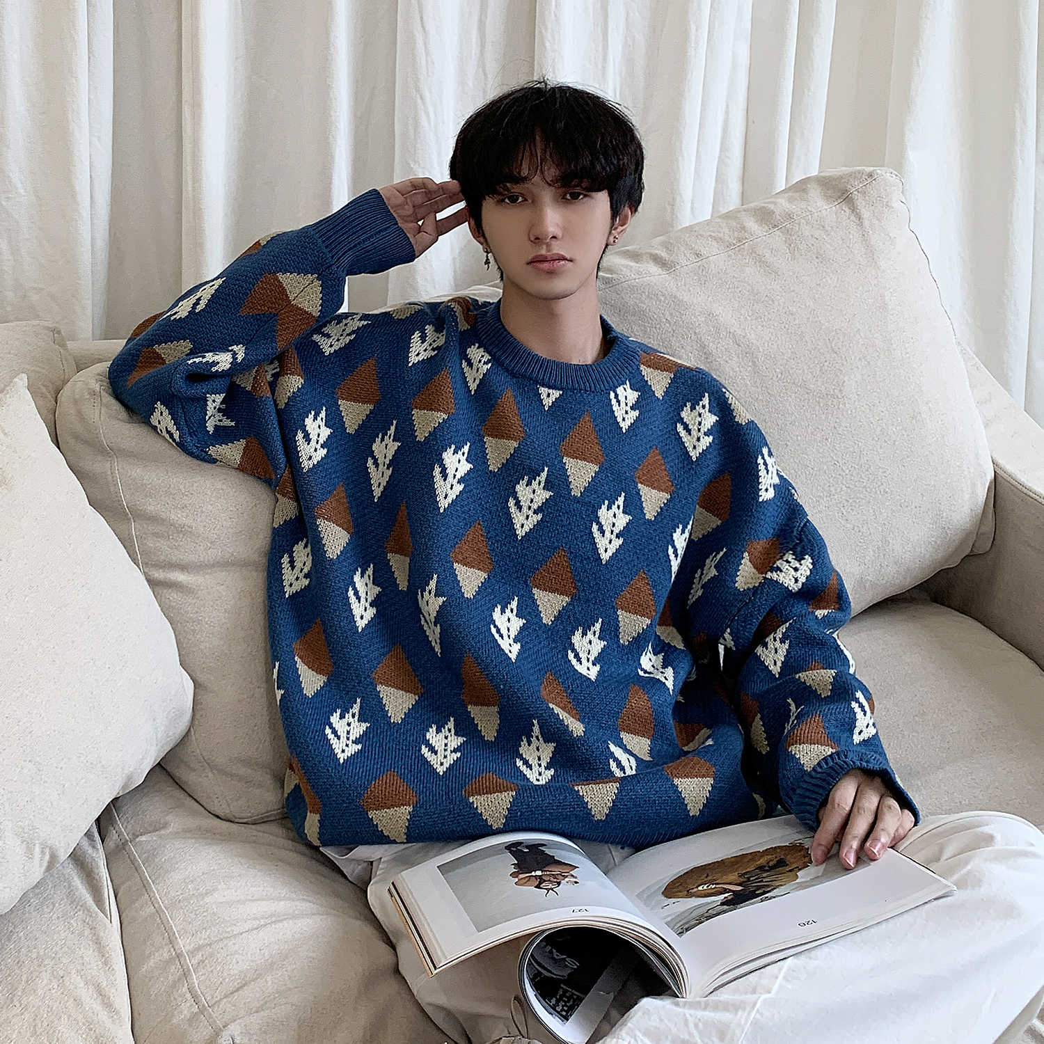 Winter Men's Round Neck Printing Woollen Sweater Loose Casual Cashmere Knitting Apricot/blue Color Pullover Clothes Coats M-XL