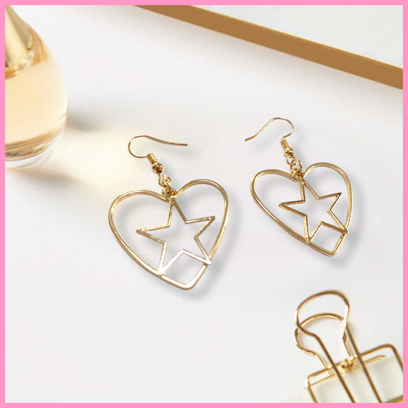 Diy original fashion trend metal earrings new moon love stars moon earrings for women girl gifts wholesale