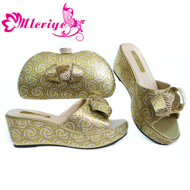 Fashionable Women Gold Color Sandals And Bag Set To Match 7cm High Quality African Shoes With Matching Bags For Party