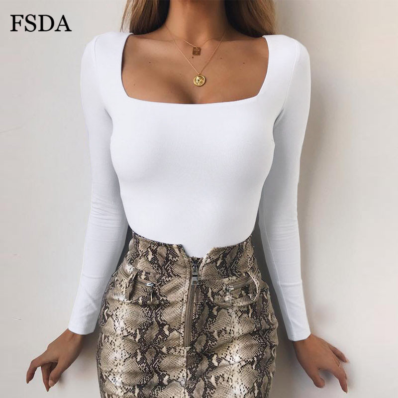 Hot DealsñFSDA Skinny Bodysuit Collar Square Long-Sleeve Knitted Black White Autumn Winter Casual≥