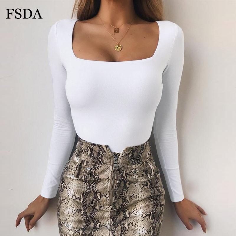 Fsda body skinny e de malha mangas compridas, macacão feminino de malha, liso, com gola quadrada, branco ou preto, casual, para outono e inverno
