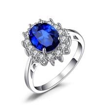 Роскошные банкетные модные ювелирные изделия с инкрустацией белые синие кольца в форме подсолнуха Женское Обручальное Кольцо