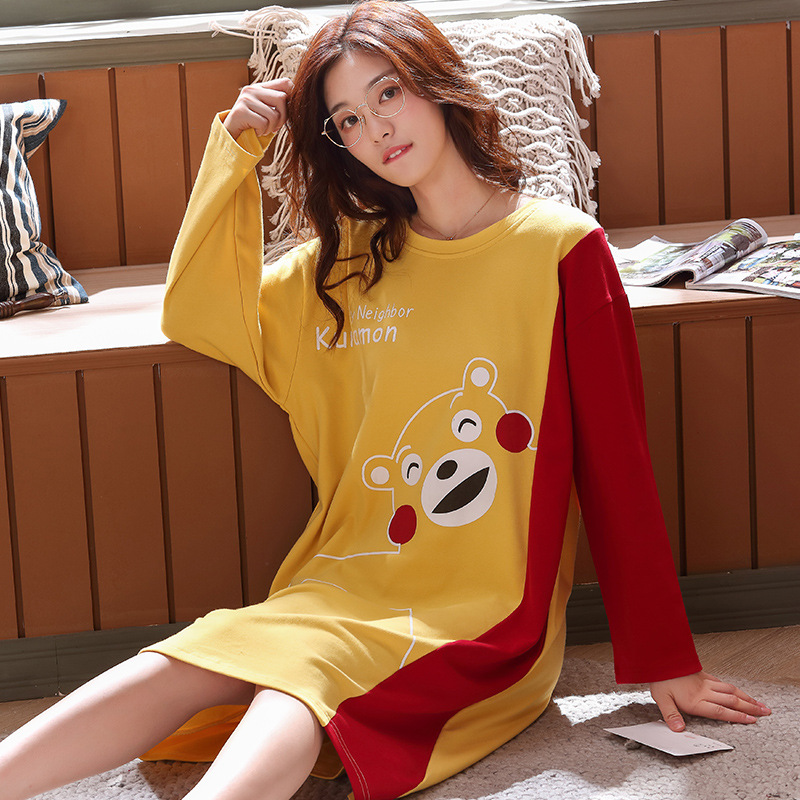 6120 # Mixed Colors Bear. Large Pullover YD Long Sleeve Korean-style Sweet Pajamas Nightgown Homewear Set Plus-sized
