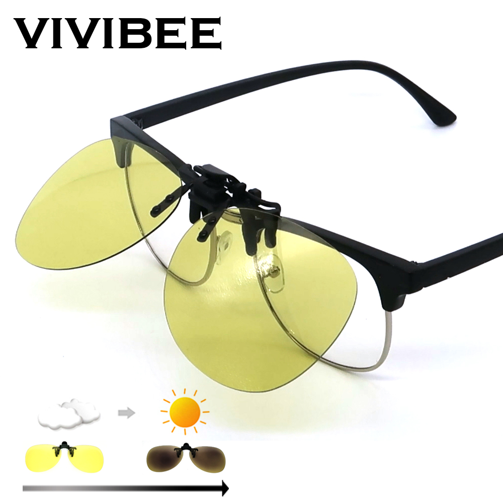 VIVIBEE Night Vision Flip Up Clip On Sunglasses Photochromic Men Yellow Color Changing Pilot Lens Driving Myopia Glasses Clips