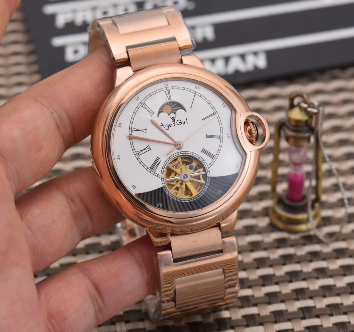 Luxury Brand New Men Rose Gold Silver Black Leather Automatic Mechanical Sapphire Tourbillion Watches Transparent Sport Watch