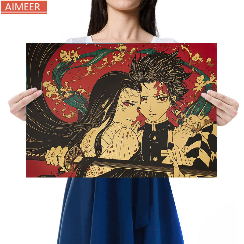 AIMEER Demon Slayer Blade A Kamado Tanjirou Comic Character Nostalgic Vintage Kraft Paper Poster Bar Cafe Decoration Painting