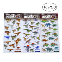 10PCS Sticker Decals Various Waterproof Removable 3D Dinosaur Faces Stickers Expression Decals for Kids Decor Boys Girls(China)